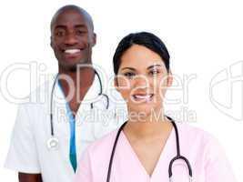 Portrait of two positive doctors
