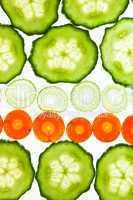 Salatgurke, Karotte und Lauch