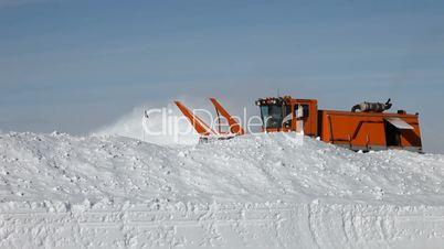 Snow blower behind deep drift