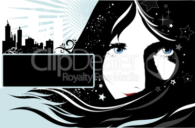 Vector background with girl
