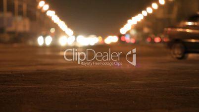 City traffic in winter evening.