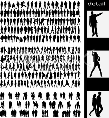 men, women, couples and groups silhouettes