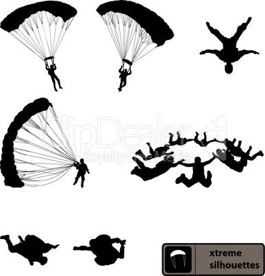 xtreme sport silhouettes set