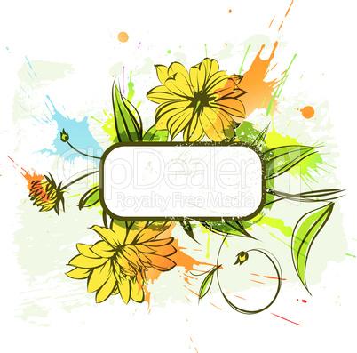 Schild mit Blumenmuster