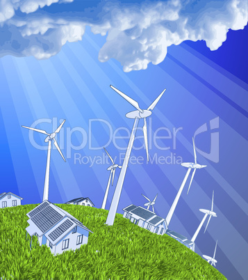 wind-driven generators, houses with solar power systems