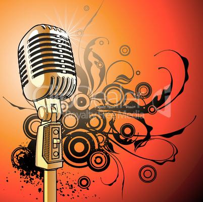 vintage microphone - vector
