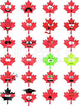 Maple-leaf-shaped smiley faces