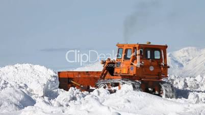Snow plow in deep snow
