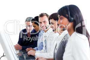 Diverse customer service representatives in a call center