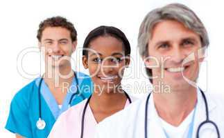 Confident medical team standing