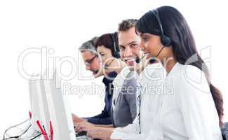 Smiling customer service representatives with headset on