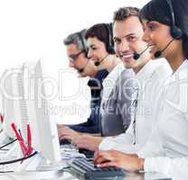 Confident customer service representatives with headset on