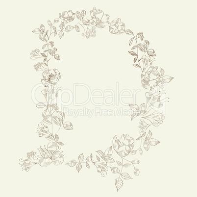 Floral font. Letter D