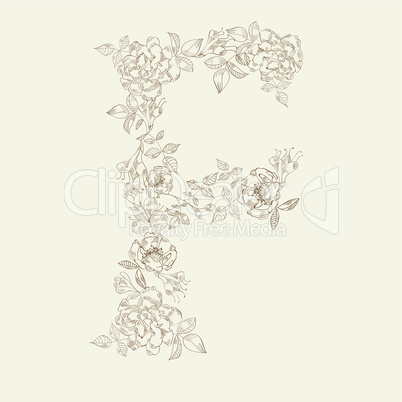 Floral font. Letter F