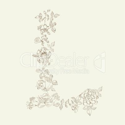 Floral font. Letter L