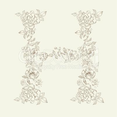 Floral font. Letter H