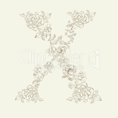 Floral font. Letter X