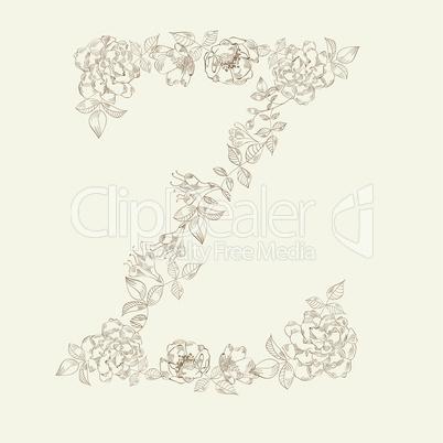 Floral font. Letter Z