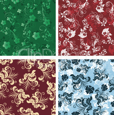 seamless floral backgrounds set