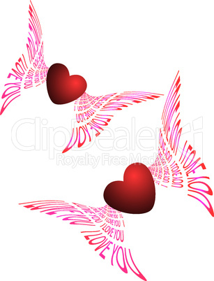 two flying hearts