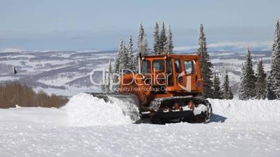 Snow plow tracked mountain