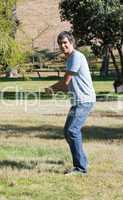Caucasian man playing baseball