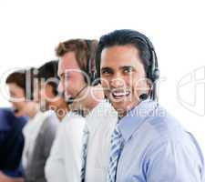 Enthusiastic business people working in a call center