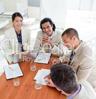 Assertive business co-workers in a meeting