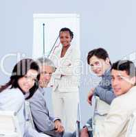 Multi-ethnic business people at a presentation