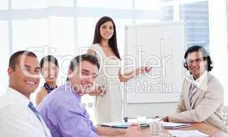 Elegant businesswoman giving a presentation