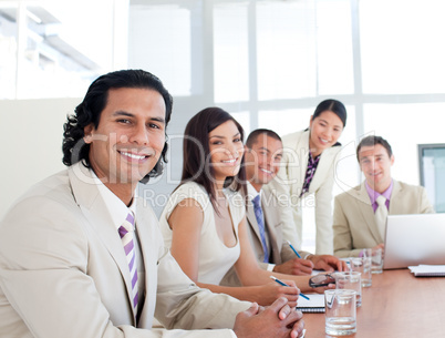 Portrait of a smiling business team in a meeting