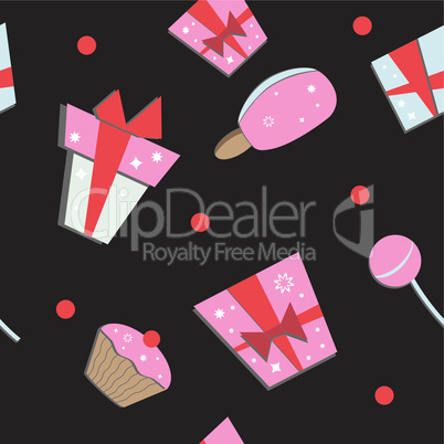 Seamless of colorful vector gift boxes and sweets