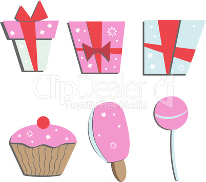 set of colorful vector gift boxes and sweets