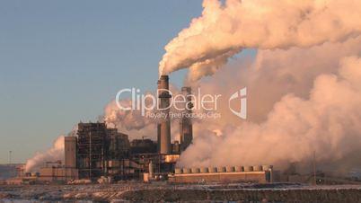 Power Plant closeup Coal Pollution