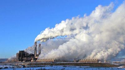 Power Plant Coal Pollution closer blue sky