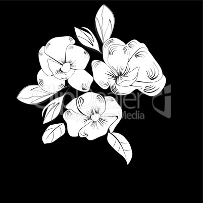 Template black and white for greeting card