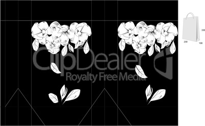 Black and white template for bag