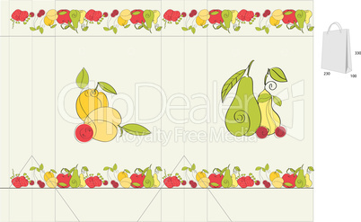 template for bag with fruit element