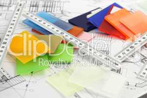 color plastics and architectural drawings