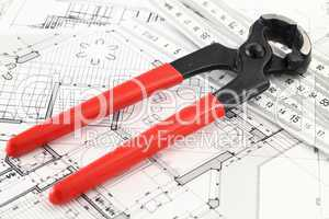 nail puller and architectural plan