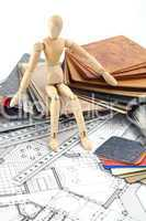 Wooden man, architectural materials & home plan