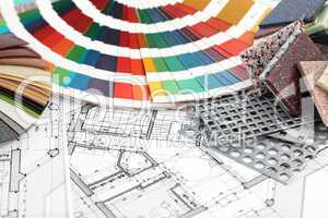 palette of colors & home plan
