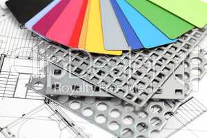 color plastics, perforated metal & house plan