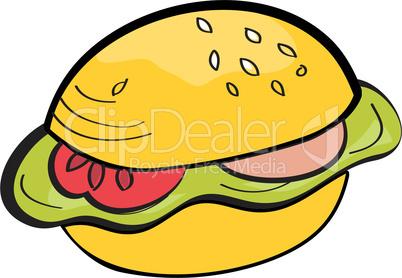 Cartoon hamburger isolated on white background