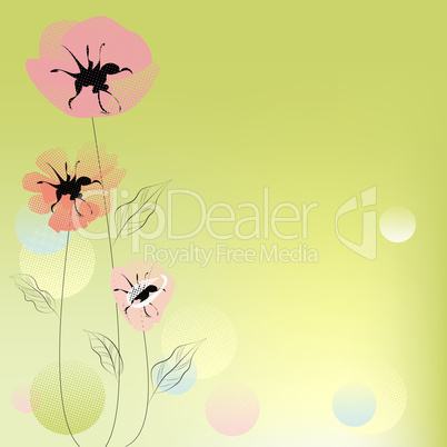 Green decorative background with poppy flowers