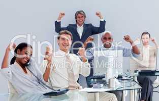 business team celebrating a success