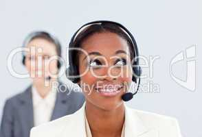 colleague with headset on