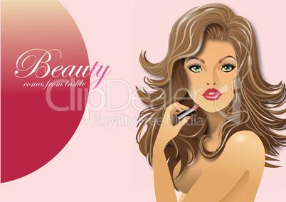 Schöne Frau mit Lippenstift