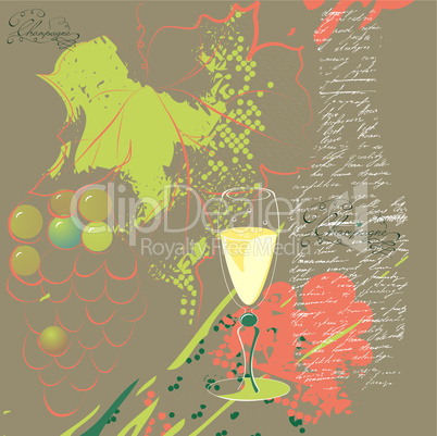 glass of champagne on stylized background