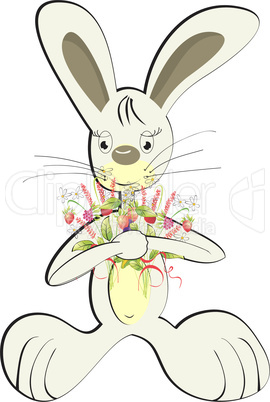 Rabbit with forest flowers